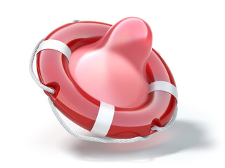 Condom as life preserver or saver. Concept of contraception and protected love.