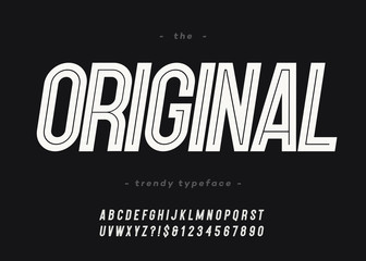 Vector bold original font trendy typography white color for decoration, logo, party poster, t shirt, book, greeting card, sale banner, printing on fabric. Cool typeface. Modern alphabet. 10 eps