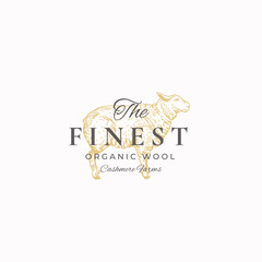 The Finest Wool. Abstract Vector Sign, Symbol or Logo Template. Hand Drawn Sheep Sketch Sillhouette with Retro Typography. Vintage Luxury Cashmere Vector Emblem.