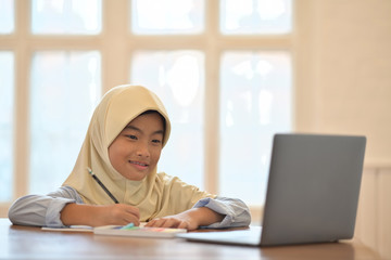 Portrait of Asian muslim hijab using her laptop