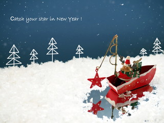 Cute deer Santa Claus catching the star. Funny Christmas background