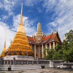 Golden Chedis and Royal Pantheon at Wat Phra Kaew