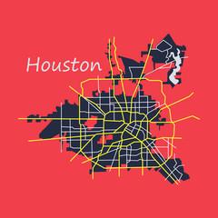 Flat Map Houston city. Texas Roads
