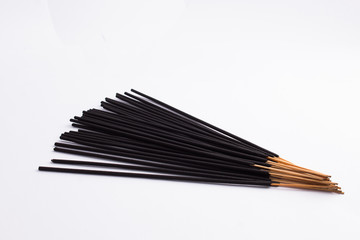 Black Incence sticks isolated on white background