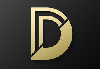 Fototapeta initial D logo design. vector illustration  obraz