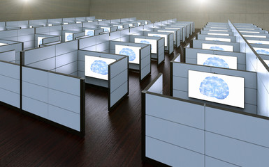 3D rendering of a conceptual images of office cubicles where workers where replaced by artificial intelligence.