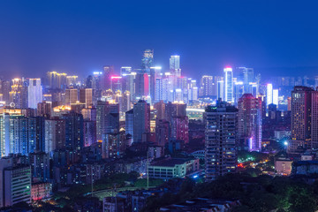Poster Bangkok cityscape and skyline of downtown near water of chongqing at night