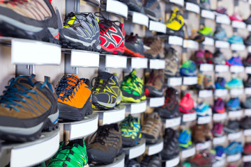 Image of colorful sneakers on shelves