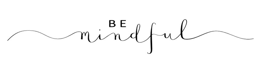 BE MINDFUL brush calligraphy banner