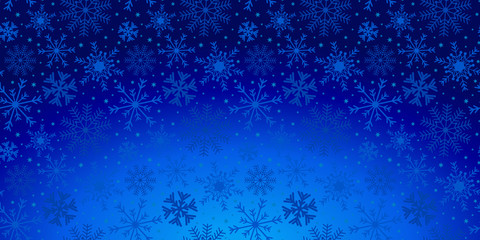 Christmas holiday background with snowflakes and stars in blue. Abstract winter blue pattern..
