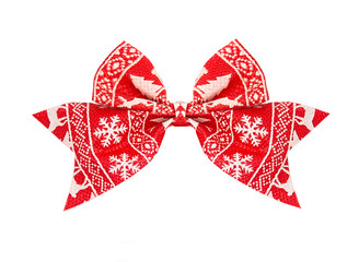 Red bow with ornament isolated on white background, new year decoration