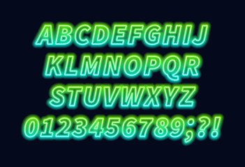 Green blue gradient neon alphabet on a dark background . Bright font for decoration.Capital letter.