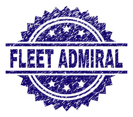 FLEET ADMIRAL stamp seal watermark with distress style. Blue vector rubber print of FLEET ADMIRAL text with grunge texture.