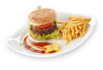 Fototapeta Hamburger z frytkami obraz