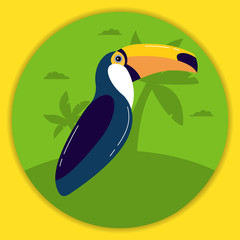 Exotic tropical bird a toucan against the background of palm trees. Character cartoon cute birdie.Icon in flat vector. A design concept websites of protection of animals or shops.Cartoon character