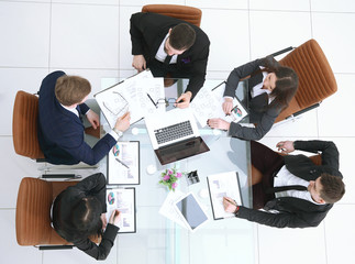 top view. business woman holds working meeting with business team