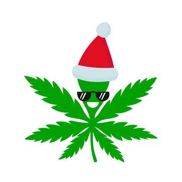 Smiling happy marijuana weed