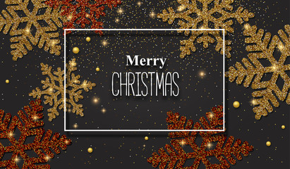 Merry Christmas greeting card with red and gold shiny snowflakes.