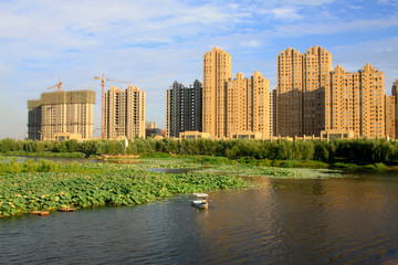 buildings and North River Park landscape, China
