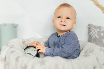 Happy Baby. Image of sweet baby boy, closeup portrait of child, cute toddler. Children, people, infancy and age concept