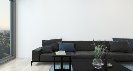 Modern living room interior with large sofa