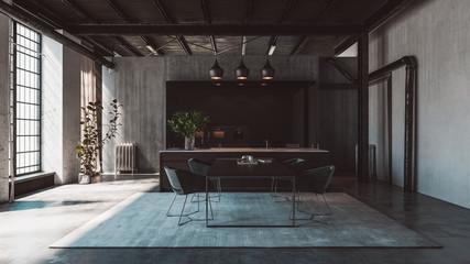modern interior of a kitchen