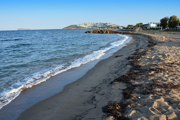 Seaside beach with washed algae near the town of Turgutreies in Turkey, A sandy beach with washed algae in Turkey, Sea, sand, beach, lashes, natural, summer, vacation, vacation, waves, tourist resort,