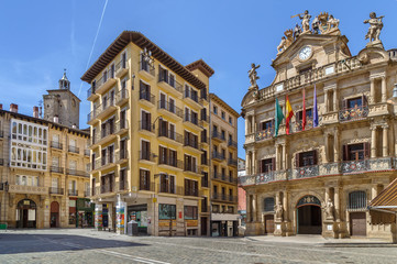 Fototapete - Square in Pamplone, Spain