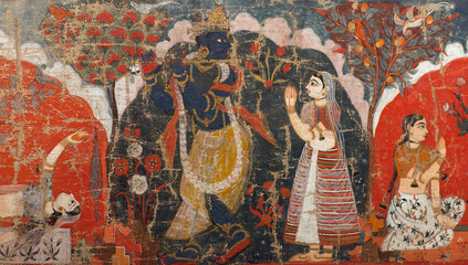 Ancient famous Nepalese painting on the wall of Royal palace at Durbar Square Wall mural
