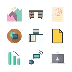 desktop icon set. vector set about graphics, graphic, laptop and office material icons set.