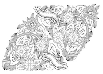Henna tattoo doodle elements on white background. Mehendi flowers vector set. Abstract floral elements in Indian style. Ethnic ornament, coloring book.