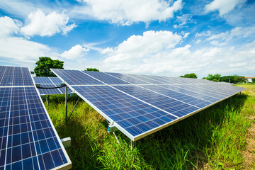 Solar panel on blue sky background, Alternative energy concept,Clean energy,Green energy.