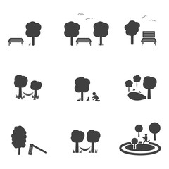 Park with tree bench and animal concept icon vector eps10.