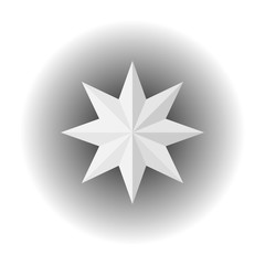 An eight-pointed white volumetric star made of paper. Origami. Vector image on white background. Isolate.