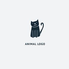 Cat silhouette logo. Vector abstract minimalistic illustration veterinary. Kitten icon. Pet, pet shop, zoo, clinic vector flat style logotype modern.