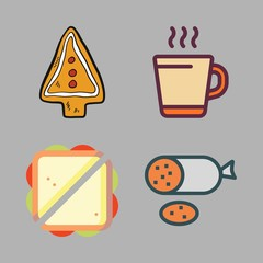 breakfast icon set. vector set about cookie, hot drink, salami and sandwich icons set.