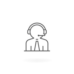 Customer service icon. Call center worker with headset. Support manager icon, Hotline support service