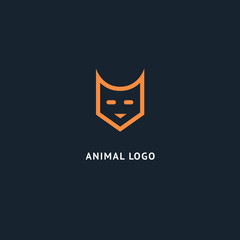Fox silhouette logo. Vector abstract minimalistic illustration wild animal. Hunter, pet shop, zoo, clinic vector flat style logotype modern.