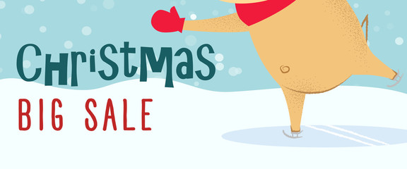 Christmas big sale banner design. Reindeer skating with snow in background. Illustration can be used for flyers, posters, signs