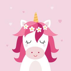 Unicorn vector head on pink background. Head portrait horse sticker, patch badge. Cute magic cartoon fantasy animal.