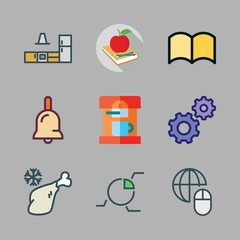 table icon set. vector set about meat, bell, mouse and ebook icons set.