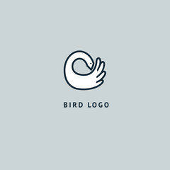 Bird silhouette logo. Vector abstract minimalistic illustration flying fowl. Swan icon. Zoo, pet shop, farm, bird feather, wild nature vector flat style logotype modern.