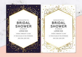 Bridal Shower Invitation Layout. Bridal Shower Template Card.