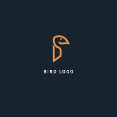 Bird silhouette logo. Vector abstract minimalistic illustration flying fowl. Eagle, falcon icon. Zoo, pet shop, farm, bird feather, wild nature vector flat style logotype modern.