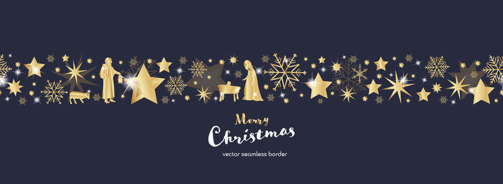 Christmas time. Dark blue and golden snowflake and star seamless border with Mary, Jesus baby and Joseph. Text : Merry Christmas