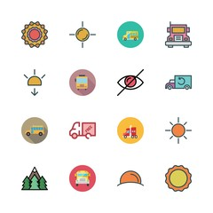 sunshine icon set. vector set about truck, school bus, sunset and sun icons set.