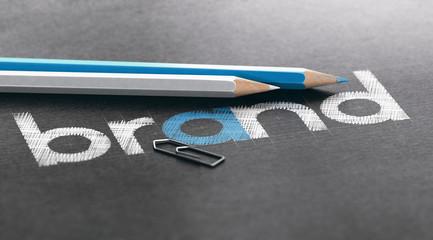 Marketing Strategy Concept, Company Brand Building and Logo Design
