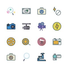 lens icon set. vector set about stapple, telescope, camcorder and focus icons set.