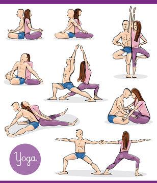 yoga in couple illustration set