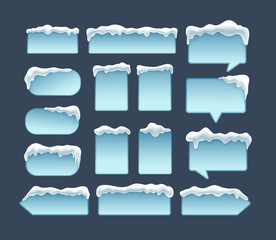 Winter frames with snow caps in the top. Perfect for winter designs. Vector illustration.